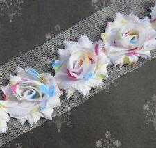 20 Confetti multi spot small shabby chiffon rose flowers - trim for hairclips
