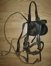 Antique Vintage Work Horse Head Collar Brown Leather Brass Ornaments