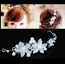 Silver Crystal Pearl Flower Wedding Bridal Hair Pin Hair Band Clip Headband Gift