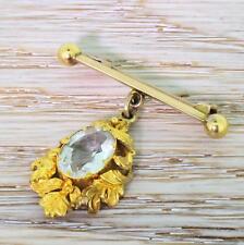 Vittoriano 3.00ct Ovale Taglio ACQUAMARINA GOCCIA PIN/Spilla-giallo oro-C 1900