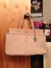 Elie Tahari Woven Straw And Tan Leather Tote Shoulder Hand Bag