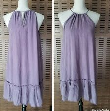 New Cloth & Stone Medium Frayed Ruffle Hem Halter Dress Plum Stripe Tunic $145