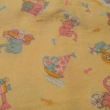 Vtg 37W baby flannel fabric pale yellow lion elephant Zoo toss 34x37 pastel