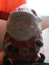 SLEIGH BELL BISTRO SANTA CLAUS WITH CANDY CANE CERAMIC CHRISTMAS COOKIE JAR