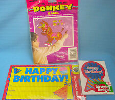 Happy Birthday Child Party Lot Stick Tail on Donkey Game & Awards + Badges
