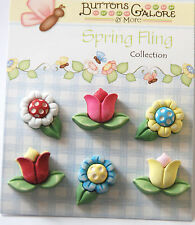 Spring Flowers / Daisy & Tulips Buttons / Buttons Galore / 3D Style Shank