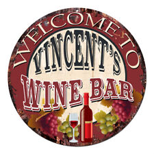 Cmwb-0116 Welcome to Vincent'S Wine Bar Chic Tin Sign Man Cave Decor Gift