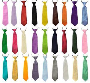 New Children's Silky Satin Pre-Tied Elastic Ties 50 Colours Boys Bridal Wedding