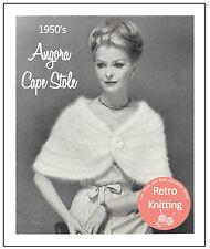 1950's Angora Cape Stole - Vintage Knitting Pattern Copy