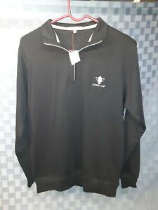 BRAND NEW Peter Millar Mens Small Black Long Sleeve Pullover Jones Cup MS14K40