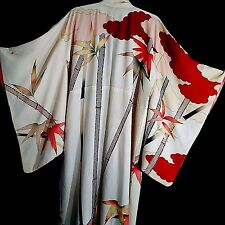 Vtg 1912 Taisho Era Formal Furisode Kimono Gold Orange Silk Bamboo Shoots Leaves
