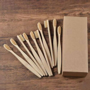 500 Pcs Bamboo Toothbrush Biodegradable Natural Wooden Eco Friendly Brand New