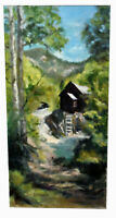 """20"""" Vintage Oil Painting Signed Jill SInclair Old Watermill Lanscape Forest"""