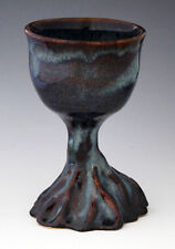 "Lynn T Artisan Pottery 5 3/4"" Rooted Glossy Blue Goblet"