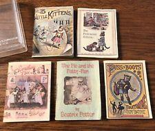 Vintage Lot 5 Miniature Books Cat Kitty Stories Mini Merrimack 1982 2� X 1.5�
