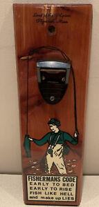 Vintage Fishermans Code Wall Plaque Bottle Opener Land of the Pilgrims Plymouth