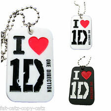 "1D, I HEART ONE DIRECTION SILICONE DOG TAG FASHION NECKLACE PENDANT 11"" CHAIN UK"