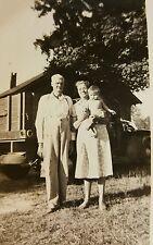 VINTAGE OLD PHOTO TAKE IN 1950's GRANDMA AND GRANDPA POSING OUTSIDE grandson