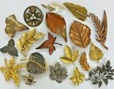 JOB LOT 19 VINTAGE BROOCHES AUTUMN LEAVES COPPER EXQUISITE MIRACLE GOOD LOT