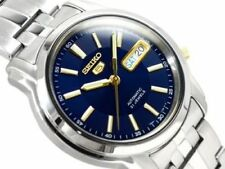 New Seiko 5 SNKL79 Men's Stainless Steel Blue Dial Day Date Automatic Watch