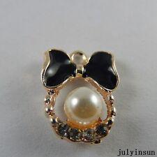 Black Gold Alloy Mini Bow Pearl Enamel Charms Pendants Craft Finding 13x 50965