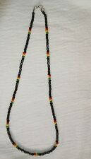 Rastafarian Colours Hematite and Seed Bead Necklace