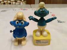 Vintage 80's Smurfs Wind Up And Heim Push Puppet Toys.