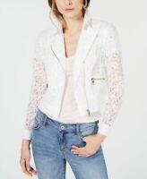 INC Women's Jacket White Size Medium M Lace Asymmetrical Zip Moto $99 #008