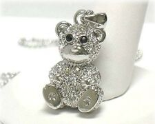 NEW CRYSTAL SILVER TEDDY BEAR PENDANT NECKLACE WHITE GOLD