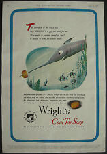 Wright's Coal Tar Soap Comical Swordfish 1946 1 Page Advert