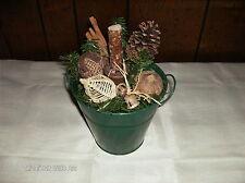 Green Bucket Make-Do Candle Holder Center Piece Christmas Gathering