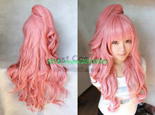 Popular Megurine Luka Long Smoke Pink wigs Wavy Cosplay Wig With Clip Ponytail