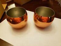 Vintage Coppercraft Guild Set Of 2 Planters Pots Cups Tumblers Bowls Copper NIB