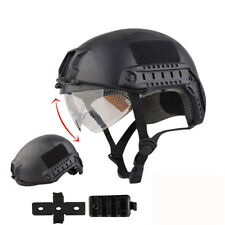Military Tactical Airsoft Paintball SWAT Protective Fast Helmet With Goggle BK