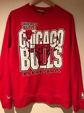 Mitchell Ness Chicago Bulls Crewneck Sweatshirt NBA Sweater Pullover Size L Red