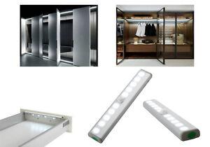 Wireless Motion Sensor Cabinet LED Light Wardrobe Cupboard PIR 10-LED Battery