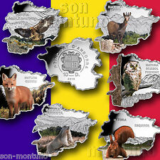 All 6 MAP SHAPED SILVER COINS Eagle Fox Marmot Owl Chamois Squirrel 2013 Andorra
