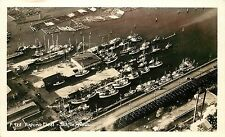 1930-50 Real Photo Air View Fishing Fleet Seattle WA Boats Dock Timber Unposted
