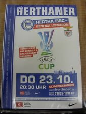 23/10/2008 Hertha Berlin v Benfica [UEFA Cup] & 18/10/2008 Stuttgart [League] [J