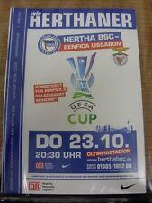 23/10/2008 Hertha Berlin v Benfica [UEFA Cup] & 18/10/2008 Stuttgart [League] [J