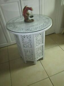 Vintage Anglo Indian Bohemian Hand Carved Wood End Side Table Folding Octagon