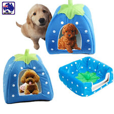 Pet Cat Dog Bed Kennel Foldable Strawberry Shaped Cushion House Warm Pdbed05