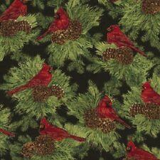 CHRISTMAS MORNING RED CARDINALS PINECONES FABRIC METALLIC