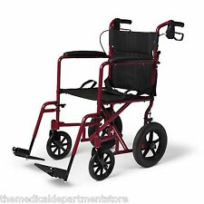 New Medline Transport Chair Wheelchair with Brakes Red