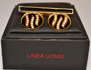 LINEA UOMO BLACK & GOLD & RHINESTONE CUFFLINKS & TIE BAR SET IN ORIGINAL BOX