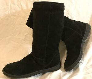 Barratts Black Mid Calf Suede Lovely Boots Size 6 (678Q)