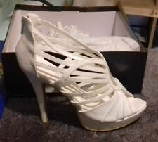 Women's Strappy High Heel White/Cream Shoes - Peep Toe/Zip Up - Size 3,4,5,6,7,8