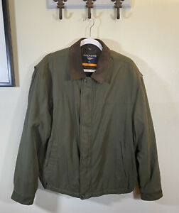 Dockers Mens Large Stain Defender All Weather Green Coat Jacket Lined Suede Trim