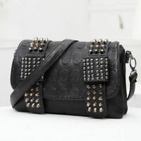Fashion Lady Skull Rivet Tassel Shoulder Handbag Crossbody Satchel Tote Bag UK