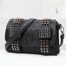 Women Leather Rivet Handbag Skull Tassel Shoulder Bag Crossbody Satchel Tote Bag